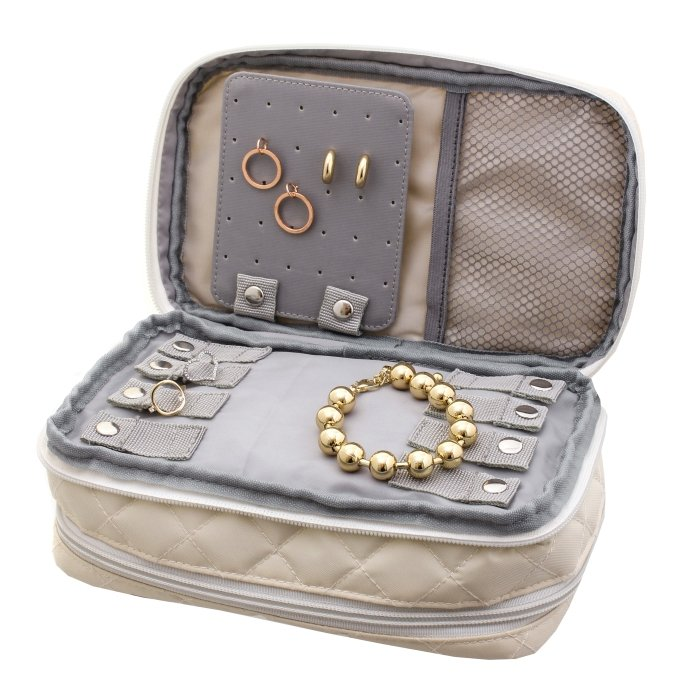 Cream Jewelry & Makeup Bag