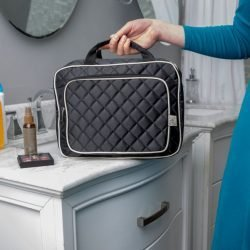 d534f0be0bb2be Black Quilted Hanging Toiletry Organizer | Ellis James Designs