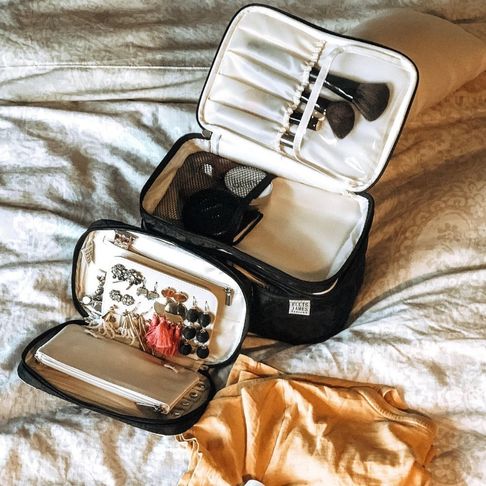 Shayla - Ellis James Designs Babes Travel Jewelry Keeper and Tall Cosmetic Bag