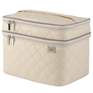 Cream Tall Cosmetic Bag