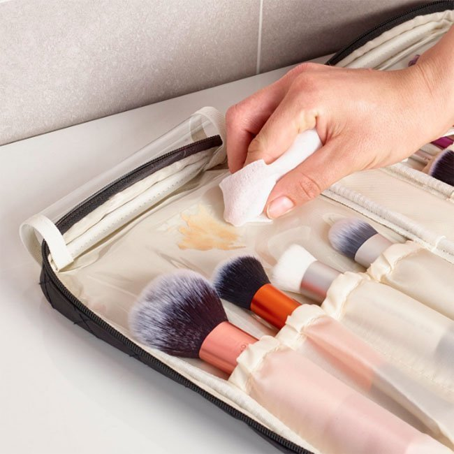 clean your makeup brush bag properly by Ellis James Designs
