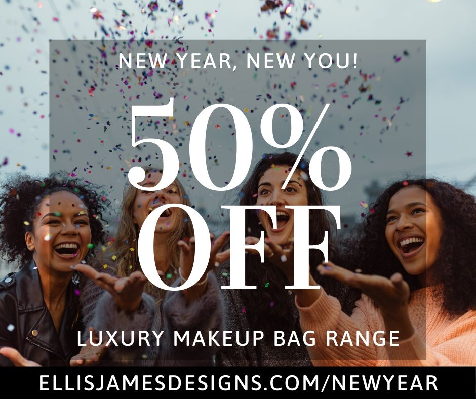 50% Off Luxury Makeup Bag Range at Ellis James Designs